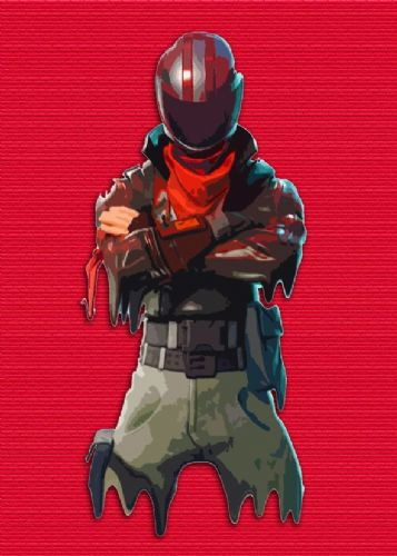 GAMES - FORTNITE - SKIN DRIP SKETCH RED canvas print - self adhesive poster - photo print